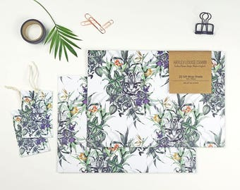Pack x2 Ocelot Gift Wrap Set, Wrapping Paper, Nature Wrap, Decorative Wrap, Packaging, Present Wrap.