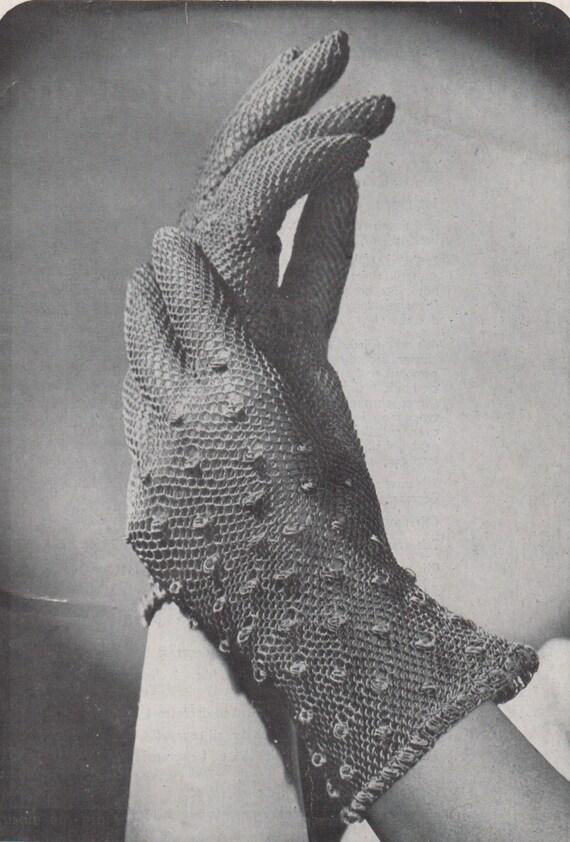 Jahrgang der 1950er Jahre Handschuh häkeln Muster. Schiere Spitzen ...