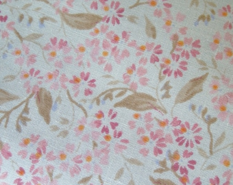 Vintage Fabric 1980s Cream background small pink peach red flowers Cotton Unused Craft patchwork fabric 1/2 metre very wide