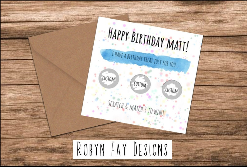 GIFT PERSONALISED Scratch Card Scratchcard ADD YOUR OWN TEXT as the PRIZE