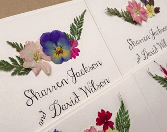 Floral Wedding Invitation Boho Rustic Invites With Real Etsy