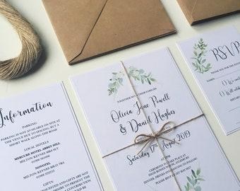 printable wedding invitation set vintage botanical wedding invitations with greenery