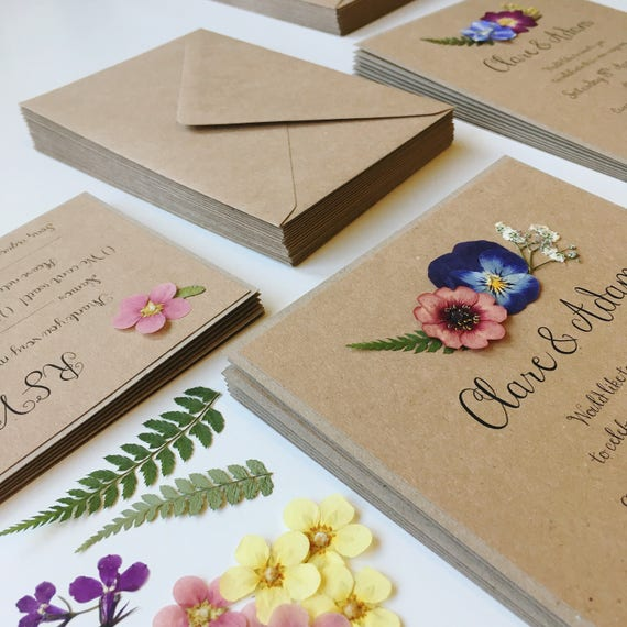 Floral Wedding Invitation Rustic Wedding Invites With Real Etsy