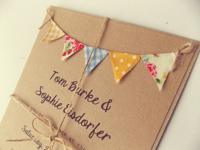 Quirky Wedding Invitation: Country Bunting Wedding Invitation. 'Vintage Spring'