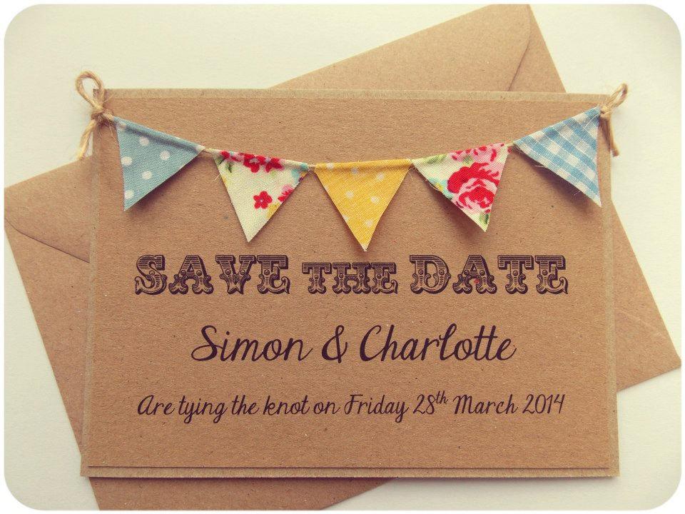 Fabric Wedding Invitations: Save The Date Fabric Bunting Wedding Invitation Vintage