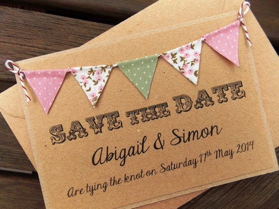 Bunting Wedding Invite: Save The Date Lace Bunting Wedding Invitation Country Fete