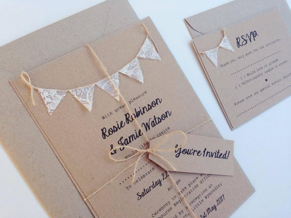 Bunting Wedding Invite: Wedding Invitation Rustic Lace Bunting On Kraft Card RSVP