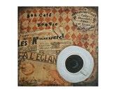 Mixed-media painting 12 x 12 inch 'Bon café, bon vie' on canvas