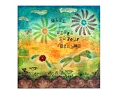 ORIGINAL Mixed-media painting 12 x 12 inch 'Give wings to your dreams'
