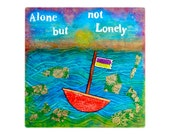 ORIGINAL Mixed-media painting 'Alone but not lonely'