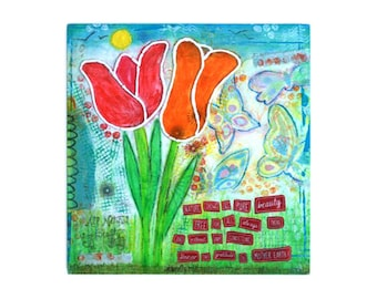 ORIGINAL Mixed-media painting 'Nature shows us pure beauty'