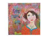 Mixed-media painting 12 x 12 inch 'Color your life' on canvas