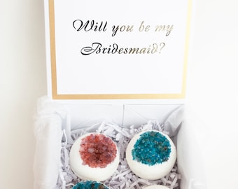 Personalized Bridesmaid proposal gift box - FULL, Bath bombs gift box, Asking Bridesmaid gift, Ask Maid of Honor, Will you be my Bridesmaid