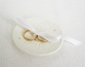 Ring Bearer Plate Swarovski Crystals, Wedding Ring Plate, Rustic Ring Bowl, Wedding ring pillow, Romance Vintage Ring Bowl - Ready to Ship
