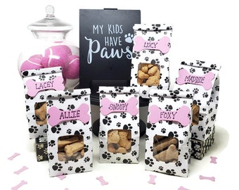 Paw Print Favor Bag for Dog Birthday Party, Set of 6, Puppy Party, Dog Party Goody Bag