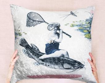 """Velvet so soft cushion cover 18 x18 """", in velveteen , Decorative pillow, Home and living ,living room ideas, Sofa Pillow, original art"""