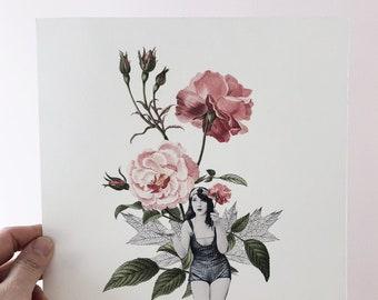 Botanical illustration, Women  flowers, Floral Rose art print, Rose Illustration , Florist, Vintage, Wall decor ,Made in Canada , Katy Lemay