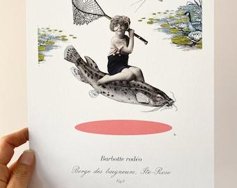 Gone fishing  Print, 8 x10 , fishing decor , minimalist Print, Boho style , Home decor ,collage art , Katy Lemay,  amazing quality print