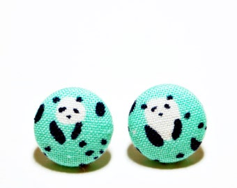 Panda Earrings, Button Post Earrings, Small Fabric Studs, Cover Button Jewelry, Nickel-free Earrings, Titanium Jewelry, Green or Gray