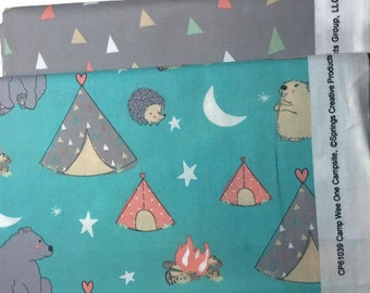 Camp Wee One Fabric Set DESTASH, Novelty Quilting Cotton, Coral, Blue, Gray, White, 2 yards nursery bear hedgehog beaver fabric