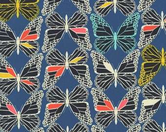 Butterfly Fabric in Blue, Cotton + Steel Moonlit, Blue, Fat Quarter or yardage, Blue the Monarch