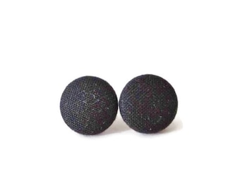 Black Earrings, Button Post Earrings, Small Fabric Studs, Cover Button Jewelry, Nickel-free Earrings, Titanium Jewelry