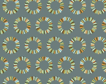 Pineapple Slices Fabric in Slate, Tula Pink Acacia, Yellow, Green, and Blue, Fat Quarter, Free Spirit