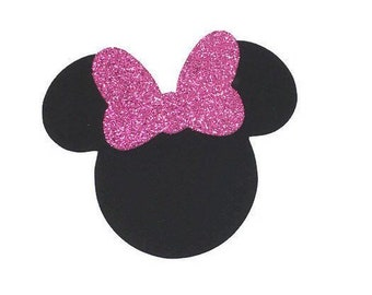 Glitter Minnie Die Cuts, Mrs. Mouse Die Cut, Mouse Head Paper Punch, Cardstock, Paper Bows
