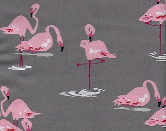 Flamingo Fabric in Gray or White, Jane Dixon for Andover Fabrics,  Fat Quarter or yardage, Large Print Flamingoes