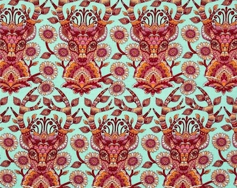 Dear Me Fabric in Strawberry, Tula Pink Moon Shine, Red, Orange, and Blue, Fat Quarter, Deer, Henna style