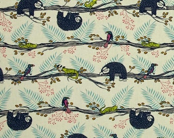 Lazy Day Sloth Fabric in Blue, Cotton + Steel Honeymoon, Fat Quarter,  Birds and Lizards
