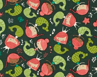 Green Mermaid Fabric in Dark Teal, Heather Rosas for Camelot, Green and Red, Fat Quarter or yardage, Under the Sea