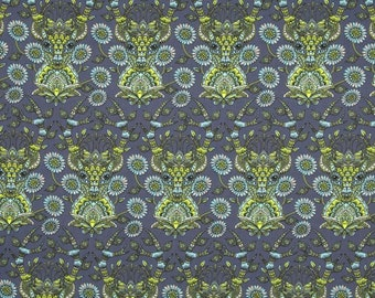Dear Me Fabric in Indigo, Tula Pink Moonshine, Green, Gray, and Blue, Fat Quarter, Deer, Henna style