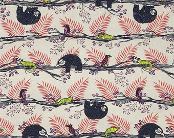 Lazy Day Sloth Fabric in Red, Cotton + Steel Honeymoon, Fat Quarter,  Birds and Lizards