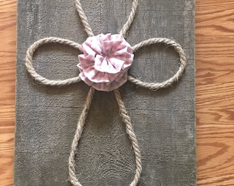 Wooden Rope Cross Wall Hanging
