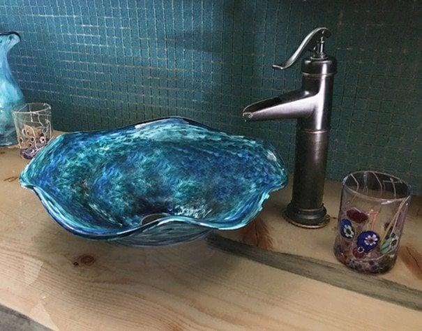 Glass Vessel Sink Glass Sink Blown Glass Sink Glass Etsy