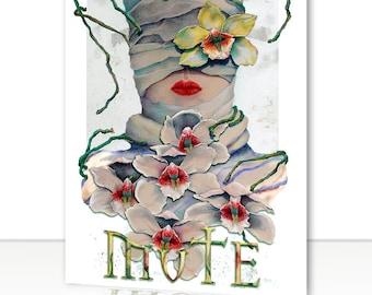 "Art Greeting Card - Surreal Orchid Lip-Prints, Fine Art, 5"" x 7"""