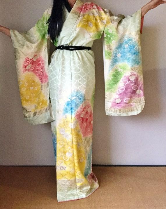 b4af5470c Silk Kimono Robe Furisode Vintage Kimono Kimono Robe | Etsy