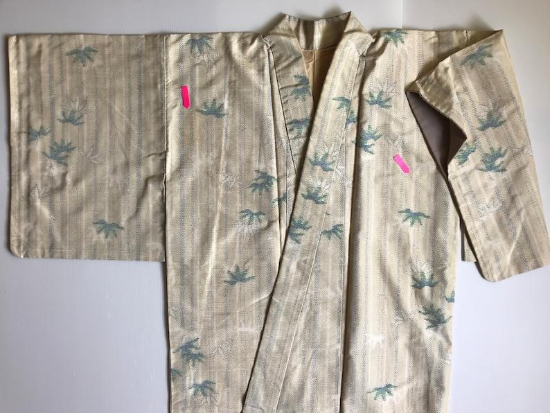 Bridesmaids Robe Asian Robe Vintage Japanese Kimono Cream Kimono M Bamboo Pattern Kimono Robe Long Boho Kimono Ladies Kimono