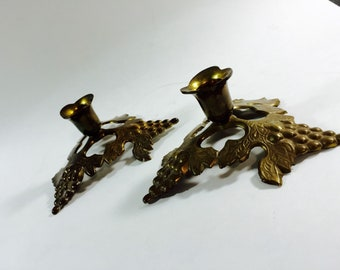 Vintage Brass Alter Candlesticks with Grape and Grape Leaf Motif