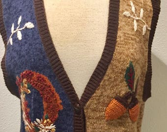 Brown Knit Harvest Time / Thanksgiving / Fall / Autumn Carnival / Festival Knitted / Sweater Vest / by Capacity Ladies Large