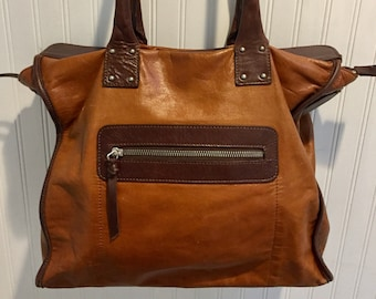 Chocolate Brown and Caramel Leather  Zara  Top Handle Tote Bag   Office Bag    Carry On   Week End Bag   14