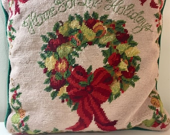 Hand Crafted Needlepont Square Christmas Pillow with Message 'Home For The Holidays'