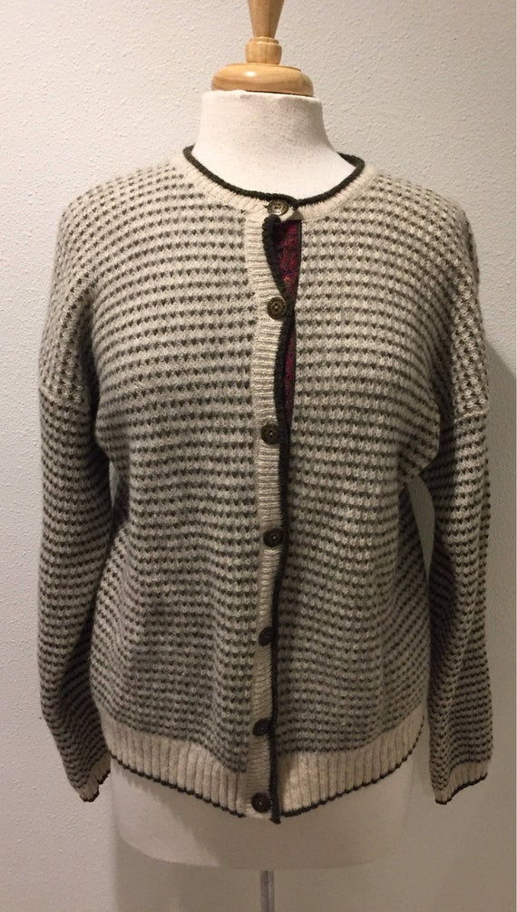 87c113e8fb Woolrich Wool Cardigan Cream and Olive Green Striped 100% Wool