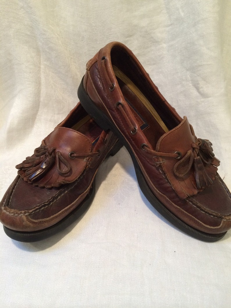 b6a083491f81c 80's Brown Two Toned Leather/Fringed/Tasseled/ Loafers by Sperry Top Sider  Men's size 9 M