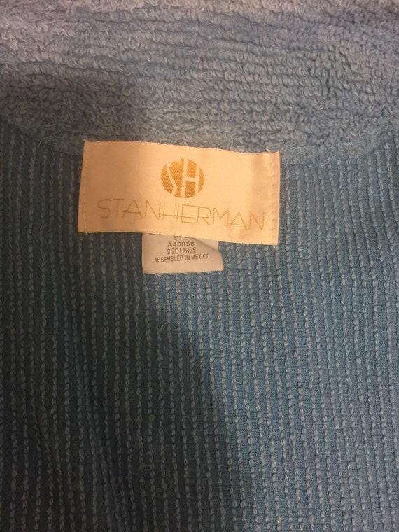 Lovely 'Stan Herman' Blue Chenille Short Robe / S… - image 10