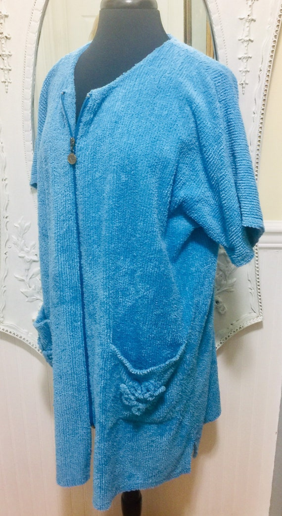 Lovely 'Stan Herman' Blue Chenille Short Robe / S… - image 4