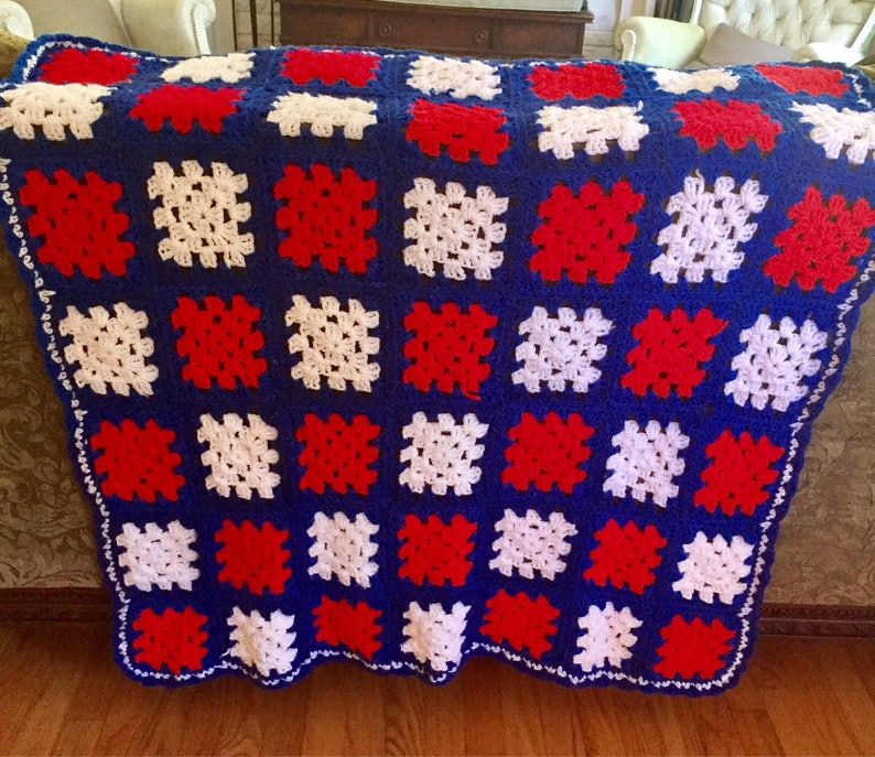 37a7a4065f56d Hand Crochet Square Red / White / Blue / Granny Square Afghan Throw 40