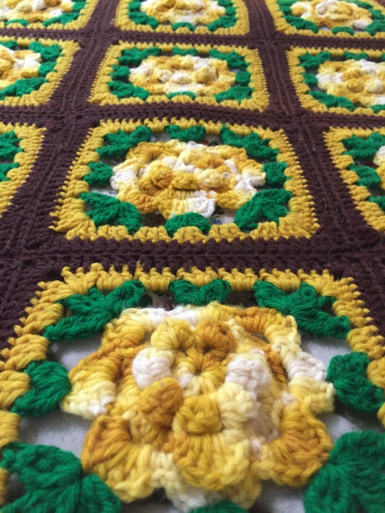 Hand Crochet GreenBrown with Yellow Rosettes Fringed Granny Square AfghanThrowBlanketBedspread