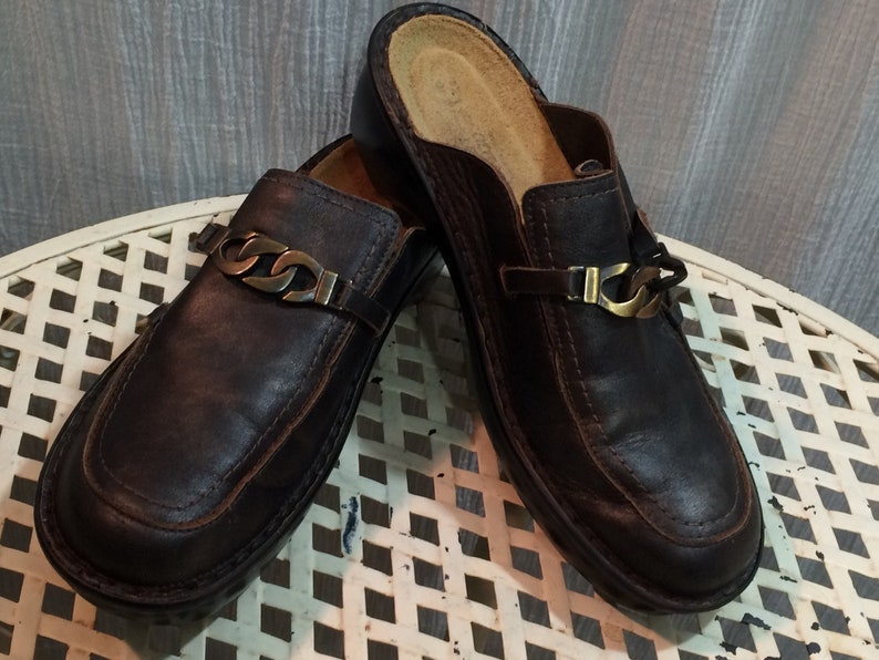 c8366b15db2f Naot Distressed Black Dark Brown Leather Slip On Shoes made in